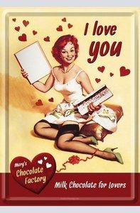 Metal Card 10 x 15cm - I love you - NA 10102