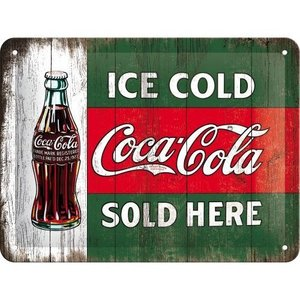 Tin Sign 15x20 Coca Cola/Vintage Evergreen/Ice Cold Bottle