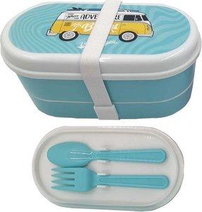 Volkswagen box met vork lepel en mes, kleur blauw